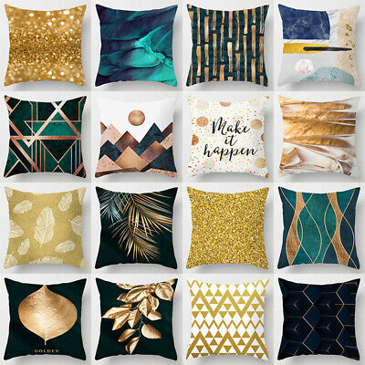 Black Gold Green Abstract Printed Cushion Cover Throw Pillow Case Pillowcase New • 5.69£