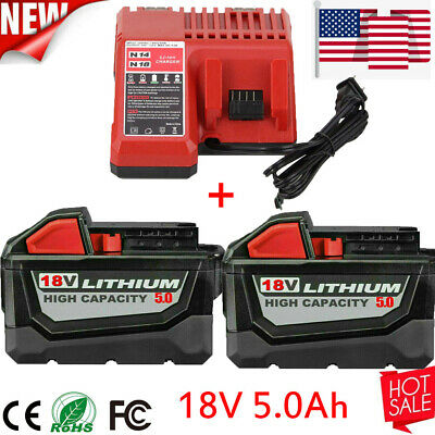 $66.01 • Buy 5.0AH For Milwaukee M18 Lithium XC Extended Capacity Battery 48-11-1860 +Charger