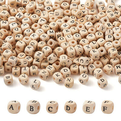 £10.16 • Buy 520Pcs Alphabet Wooden Beads With Initial Letter Square Loose Beads 10mm