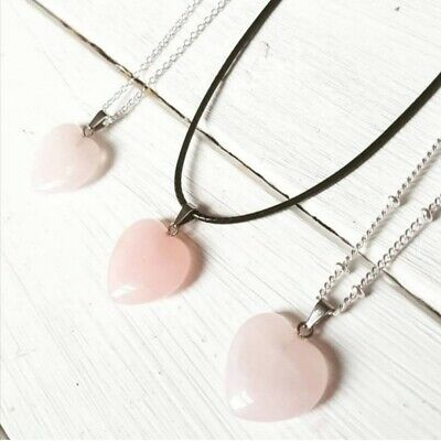 Rose Quartz Pendant Necklace Cord Beaded Chain Silver New UK  • 3£