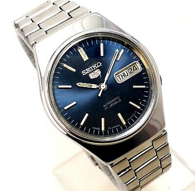 $ CDN44.40 • Buy Seiko 5 Automatic Japan Day Date Classic Blue Dial All Steel Men's Watch 35mm