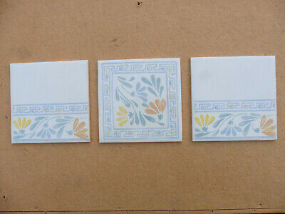 £9.99 • Buy NEW UNUSED Vintage CRISTAL Wall Tiles By H&R Johnson Ltd - WHITE With Blue/yello