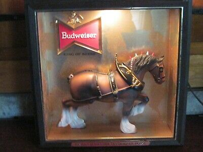 $ CDN174.11 • Buy Vintage Budweiser Clydesdale Horse Bar Lighted Sign Beer Man Cave