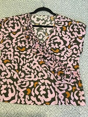 AU20 • Buy Gorman X Claire Johnson Pattered Frill Detail Short Sleeved Top Size 8