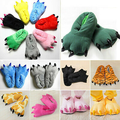 £8.99 • Buy Adult Kids Animal Monster Feet Slippers Claw Dinosaur Paw Plush Funny Shoes Size