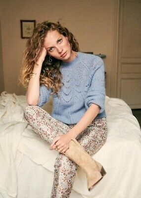 $ CDN120.98 • Buy Sezane Paulin Blue Jumper Extra Small Sellout Fancy Knit Sweater Spring Colour!