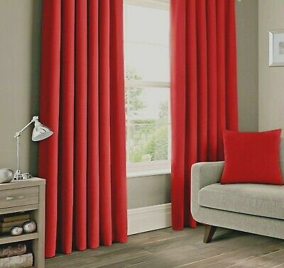 SPICE RED 100% COTTON CANVAS CURTAINS 66  X 90   TAB TOP   • 19.99£