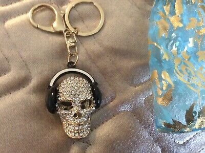 Skull Head Key Ring Diamonte Encrusted Also Black Headphones  • 7£
