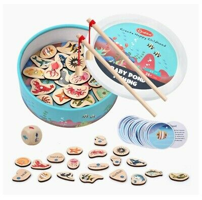 £6.99 • Buy Wooden Magnetic Toy Set Fishing Game Rods& Fish Childrens Kids Wood Magnet Board