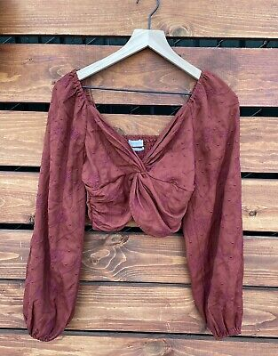 AU27.40 • Buy Urban Outfitters Orange Embroidered Bubble Sleeve Crop Blouse Size Small