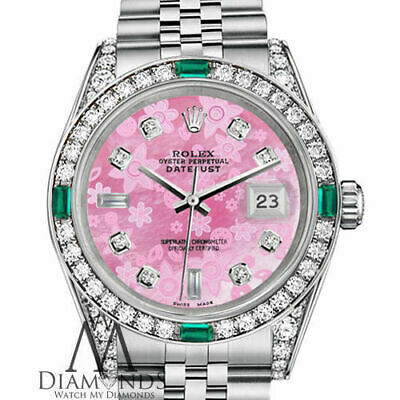 $ CDN716.82 • Buy Women`s Rolex Datejust 36mm Steel Pink Flower  MOP Emerald Diamond Dial Watch