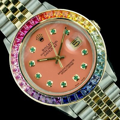 $ CDN3.04 • Buy Rolex Men`s Watch Datejust Two-Tone 36mm Salmon Emerald Dial Rainbow Bezel