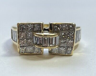 AU2750 • Buy 18 K Yellow Gold Diamond Ring Baguette + Princess Cut Diamonds Valuation $7900