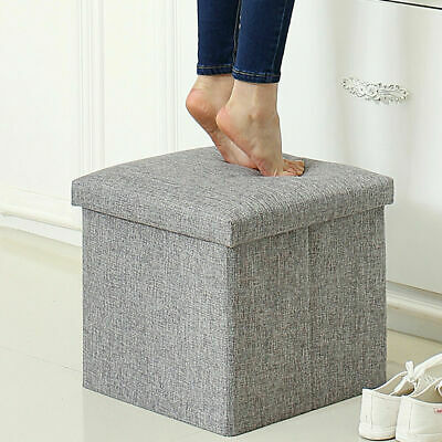 Heavy Duty Folding Ottoman Storage Box Home Chair Footstool Storage Bench Grey • 12.99£