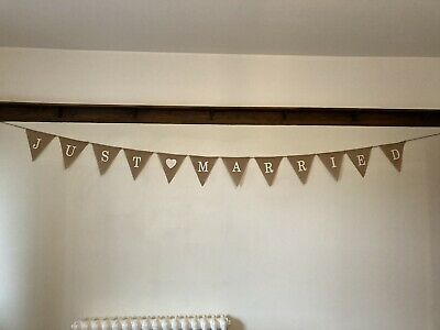 """JUST MARRIED"" Rustic Hessian Wedding Banner/ Bunting Flags • 0.99£"