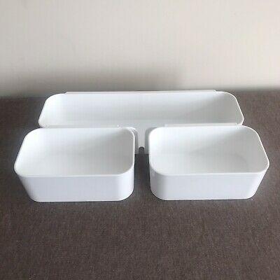 Ikea White Desk Organisers, 3 Containers  • 7.99£