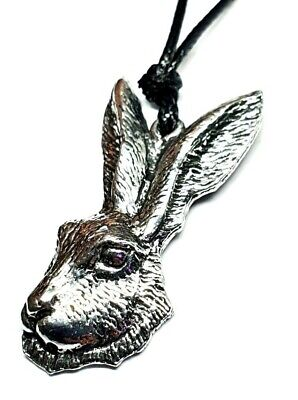 Hare Pendant Cord Necklace Moon Deity Imbolc Resurrection Pagan Pewter UK Made • 6.45£