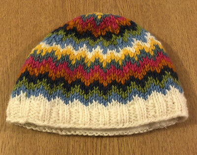 Pachamama Ladies Fleeced Lined 100% Wool Beanie Hat Size Small • 5£