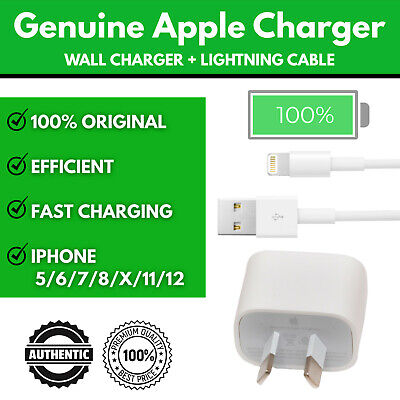 AU34.95 • Buy Genuine Apple Wall Charger Iphone 5 6 7 8 X 11 12 Ipad Ipod Lightning Cable Safe