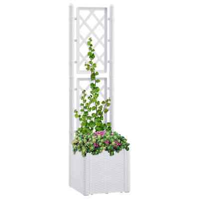 VidaXL Garden Raised Bed With Trellis And Self Watering System White Planter • 66.99£