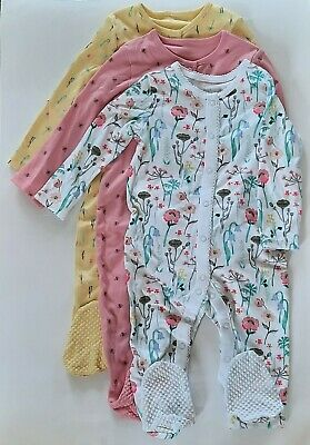 £8.99 • Buy Girls 3 Pack Sleepsuit Babygrow Bumblebee Floral Pink Yellow 9-12 Months