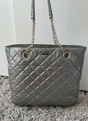 $ CDN150 • Buy Kate Spade Quilted Leather Tote Large Gold Coast Sierra Metallic Grey ❤️