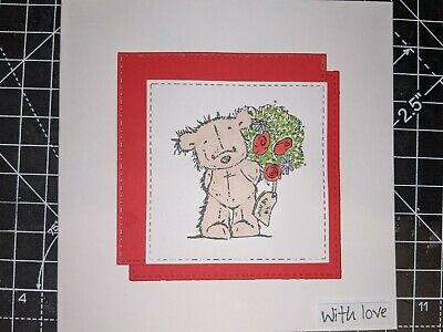 £2.50 • Buy Handmade With Love Bear And Bouquet Card Bear With Love Sentiment Glossy Accents