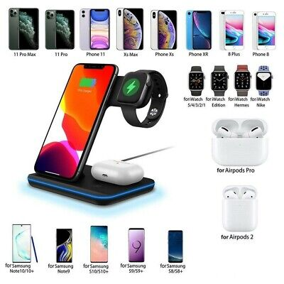 $ CDN36.48 • Buy 3 In 1 Wireless Qi Charger IWatch Phone Earbuds Charging Hub Holder For Samsung