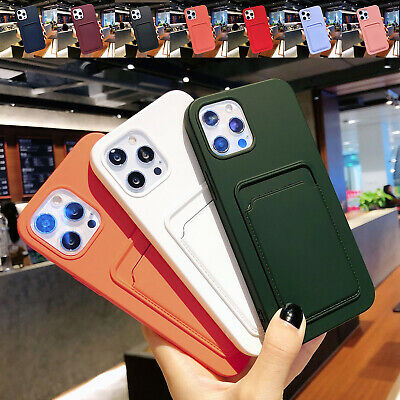 AU9.36 • Buy For IPhone 12 Pro Max 11 XS XR 8 7 Rubber Card Holder Back Case Shockproof Cover