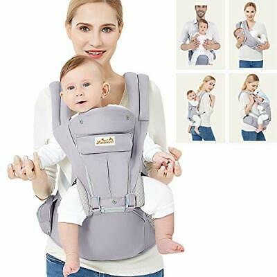 Grey Baby Carrier Ergonomic, With Hip Seat/Pure Cotton Lightweight • 71.14£