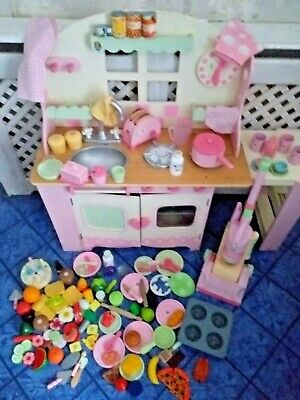 £100 • Buy Toy Wooden Kitchen ELC Many Extras Toy Food.  Pots Pans Pink  Utensils Hoover