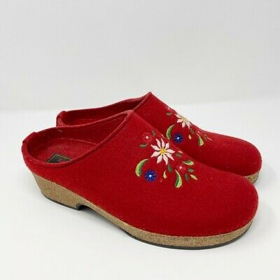 Haflinger Women's Floral Embroidered Red Wool Slip On Clogs Size 9 • 43.42£