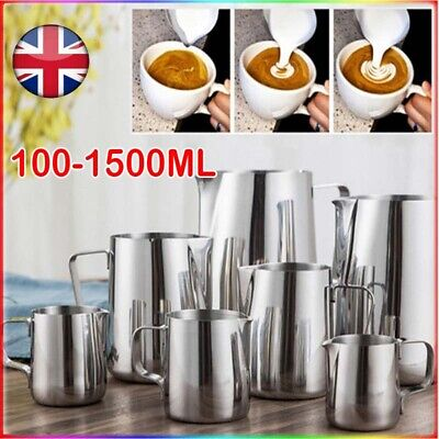 £5.99 • Buy Milk Frothing Jug Stainless Steel Frother Coffee Latte Container Metal Pitcher