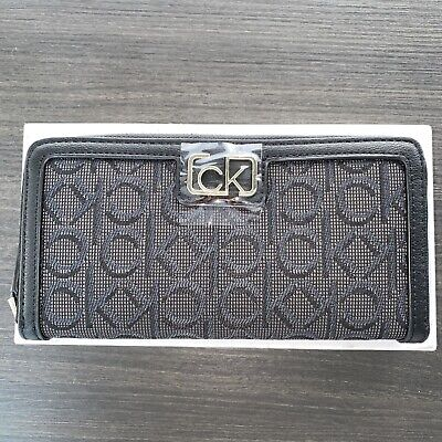 £34.99 • Buy Calvin Klein Zip Around Jacquard Logo Wallet In Grey One Size BRAND NEW