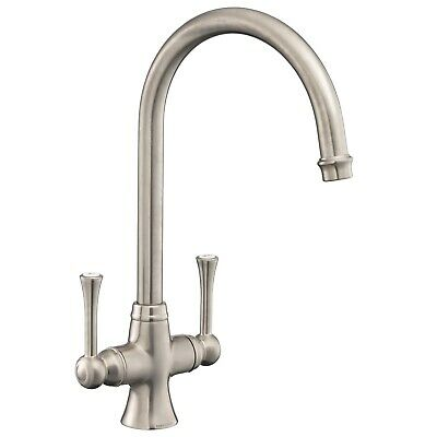 £137.45 • Buy Kitchen Sink Basin Dual Lever Mono Traditional Brushed Mixer Tap Swivel Spout