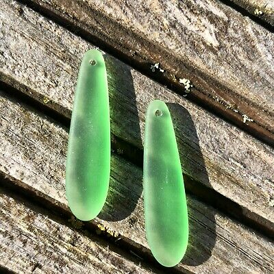 £7.25 • Buy 2 Pieces Cultured Sea Glass Long Flat Teardrop Beads Drilled -  38x10mm Green