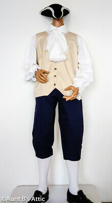 $69.98 • Buy Colonial Patriot Costume Adult 4 Pc Knickers Vest Shirt Hat 2 Color Combos Lg