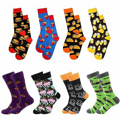 $13.99 • Buy 4pairs Mens Fun Funky And Colorful Patterned Dress Socks Novelty Cotton Socks