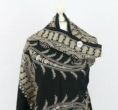 £35 • Buy Black Embroidered Wool Shawl Indian Paisley Gold Embroidery Women Kashmiri Stole