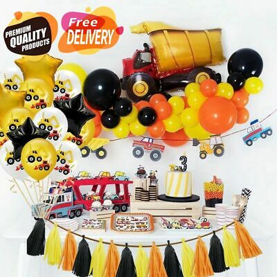 AU11.88 • Buy Construction Tractor Birthday Party Set Balloons Supplies Kit Truck Decorations