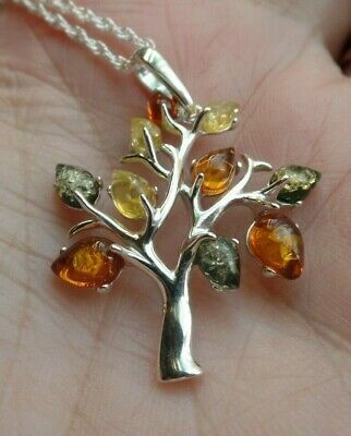 £35 • Buy Sterling Silver And Polish Amber Tree Of Life Necklace Taurus Birthstone