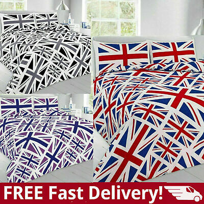 £20.99 • Buy British Union Jack Duvet Set With Fitted Or Flat Bed Sheet Full Bed Sheet Set