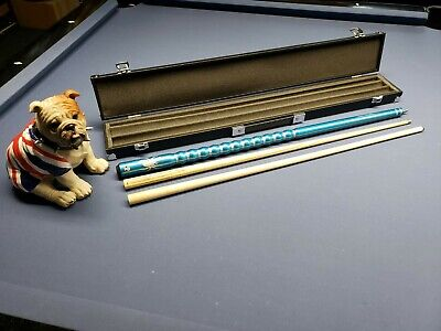 AU90.66 • Buy Pool Snooker Ribbed Cue Case Set 2 Shafts 9 Ball 8 Ball Break Cue