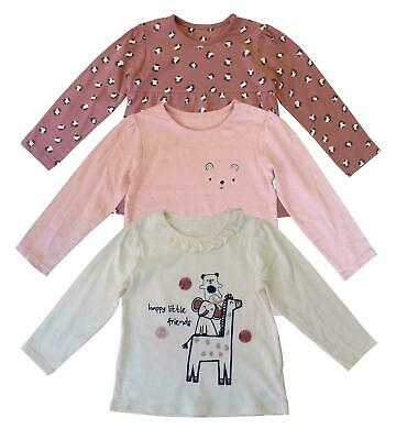 £5.99 • Buy Baby Girls Happy Little Friends Animal Print Long Sleeve Cotton Tops 3 Pack Set