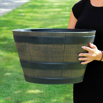 £21.99 • Buy Medium Wooden Barrel Effect Planter Ideal As Small Pond Water Feature 44cm Dia