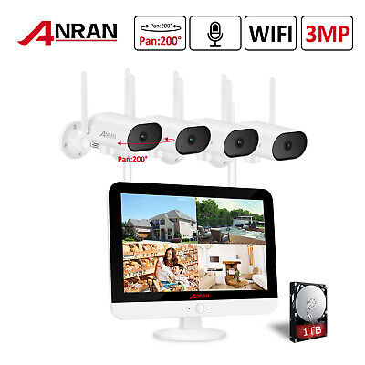 3MP Wireless Home Security Camera System CCTV WIFI 12''Monitor Outdoor IR Night • 299.99£