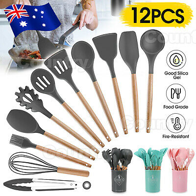 AU30.95 • Buy Set Of 12x Wooden Cooking Silicone Utensils Set Kitchen Baking Cookware BPA