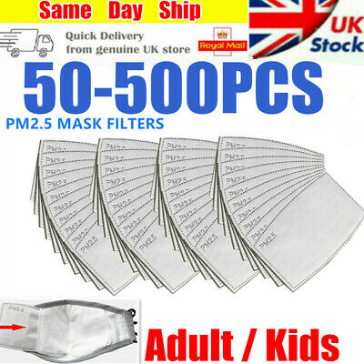 50-500 PM2.5 Filter For Washable Reusable Face Mask 5 Layer & Activated Carbon • 5.50£