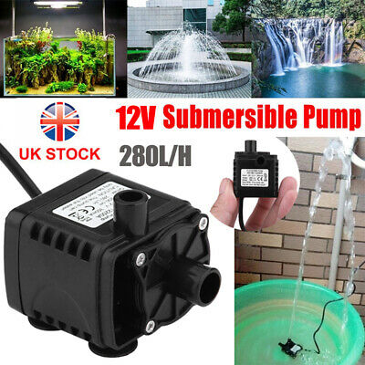 £6.99 • Buy 12V Submersible Water Pump Feature Car Cooling Fountain Garden Pond Aquarium