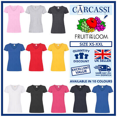 £5.25 • Buy Ladies V Neck T-Shirts Womens Fitted Tee Shirt Fruit Of The Loom Cotton Tops